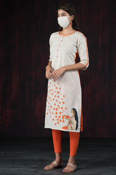 Essence Of Devotion Placement Printed Kurta - Orange & Off White