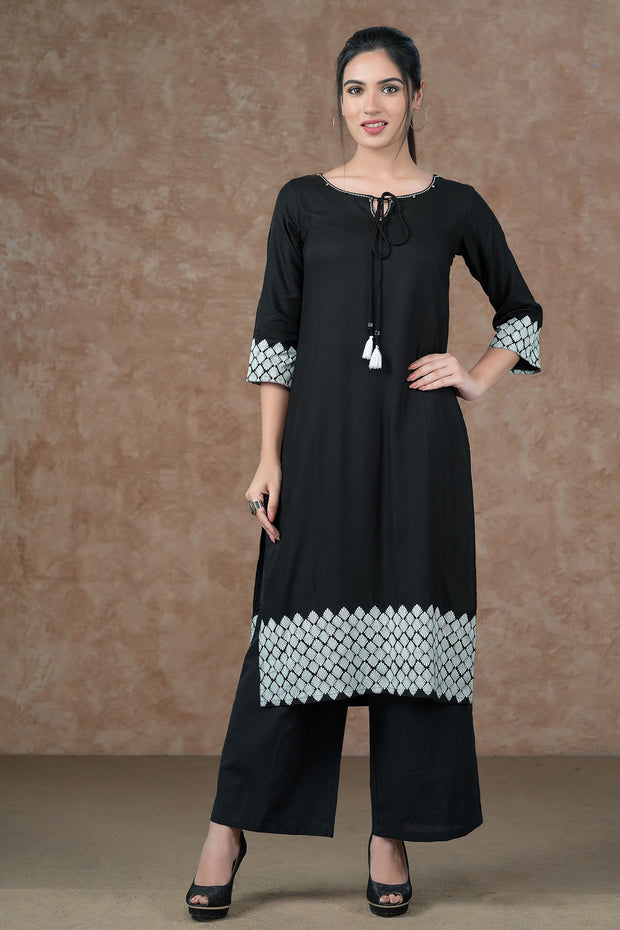 Geometric Border Printed Kurta - Black