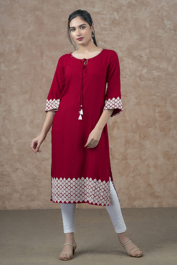 Geometric Border Printed Kurta - Red
