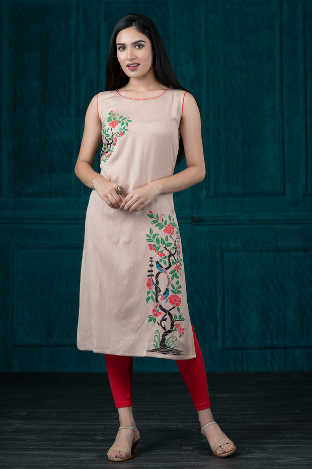 Placement Floral Tree Printed Kurta - Beige