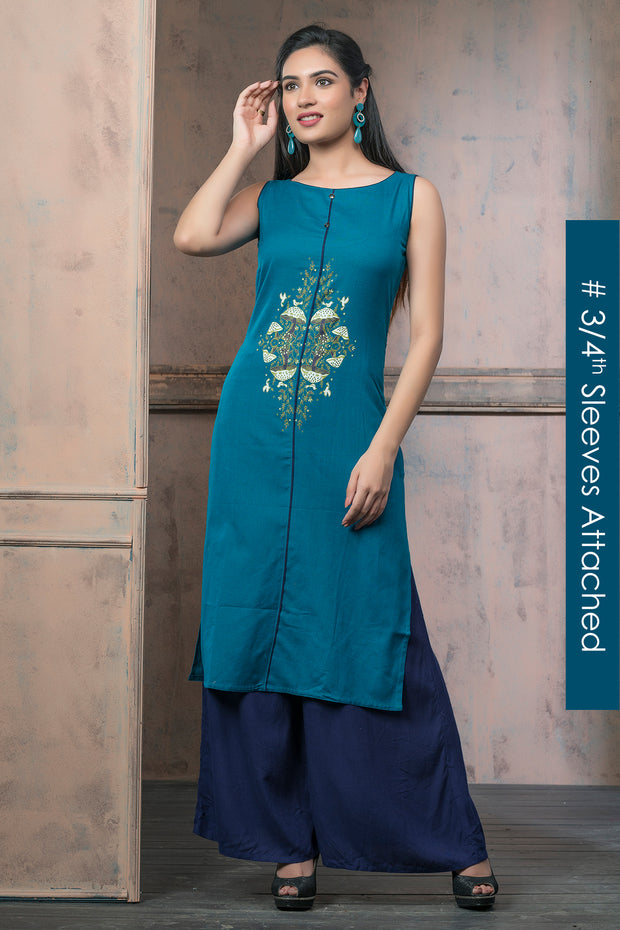 Mushroom Gardern Placement Printed Kurta - Green