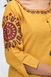 Placement Mandala Printed Kurta - Mustard - Maybell Womens Fashion