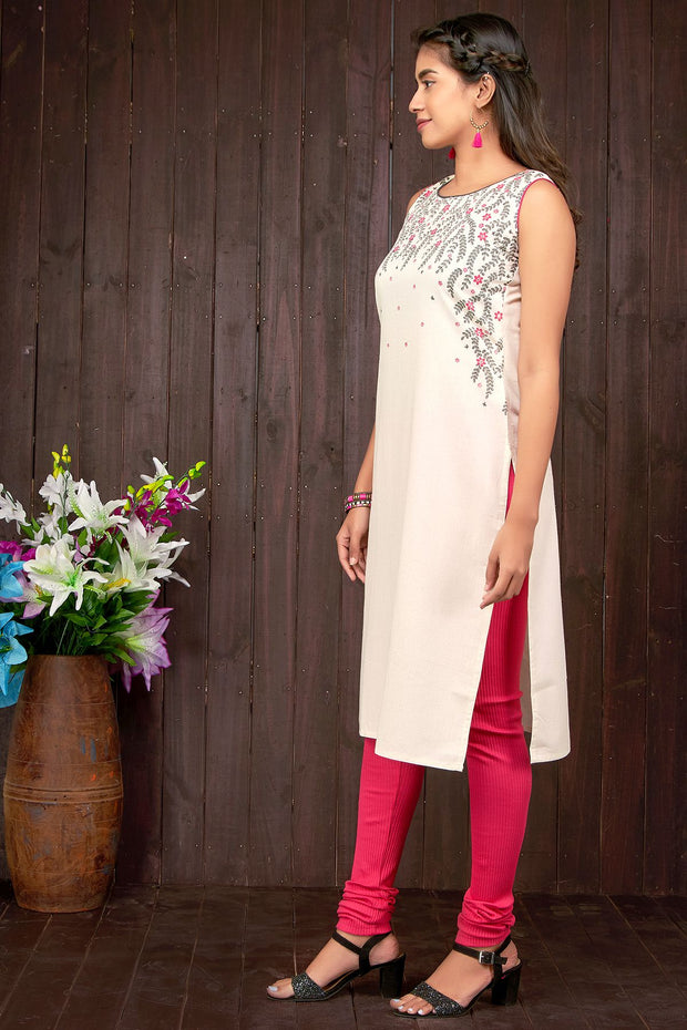 Garden Floral Symmetrical Printed Kurti – Off- White - Maybell Womens Fashion