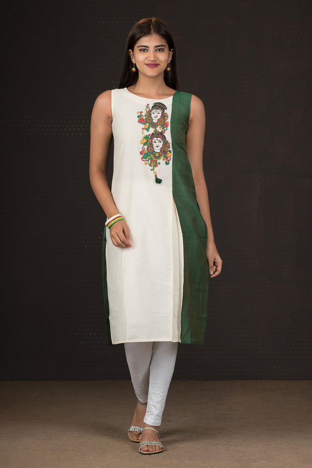 Placement Mural Printed & Paneled Kurta - Green