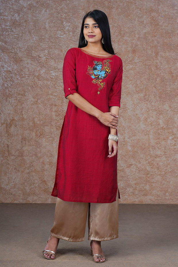 Krishna Mural Applique Embroidered Kurta - Red
