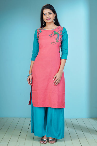 Minimal Placement Peacock Printed Kurta – Pink