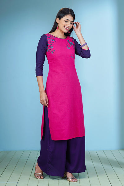 Minimal Placement Peacock Printed Kurta – Rose