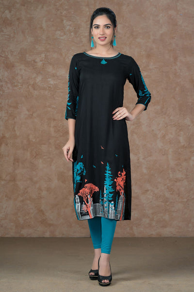 Abstract print kurta  at bottom and sleeves with nail taka and tassels -Black