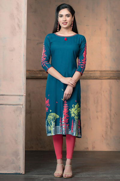 Abstract print kurta  at bottom and sleeves with nail taka and tassels - Green