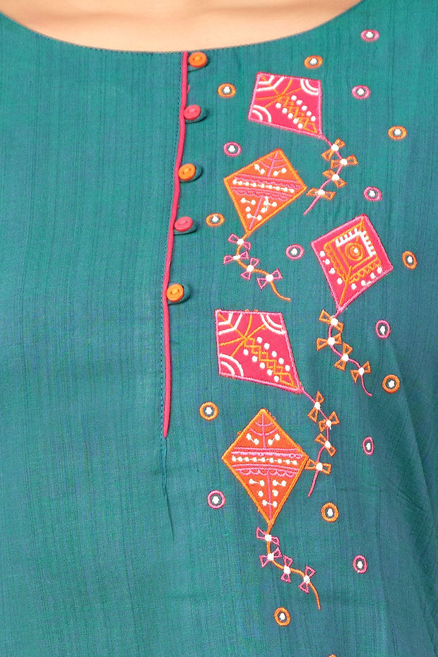 Kite Applique & Embroidered Kurta - Green - Maybell Womens Fashion