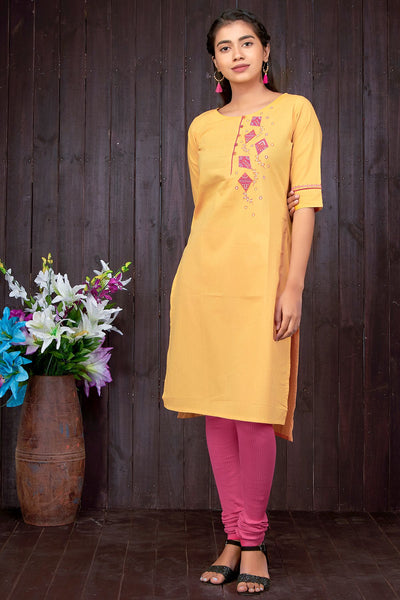 Kite Applique & Embroidered Kurta - Yellow - Maybell Womens Fashion