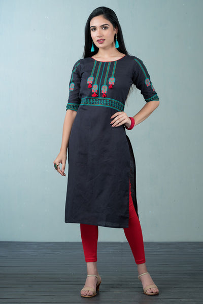 Placement tribal art kurta -grey