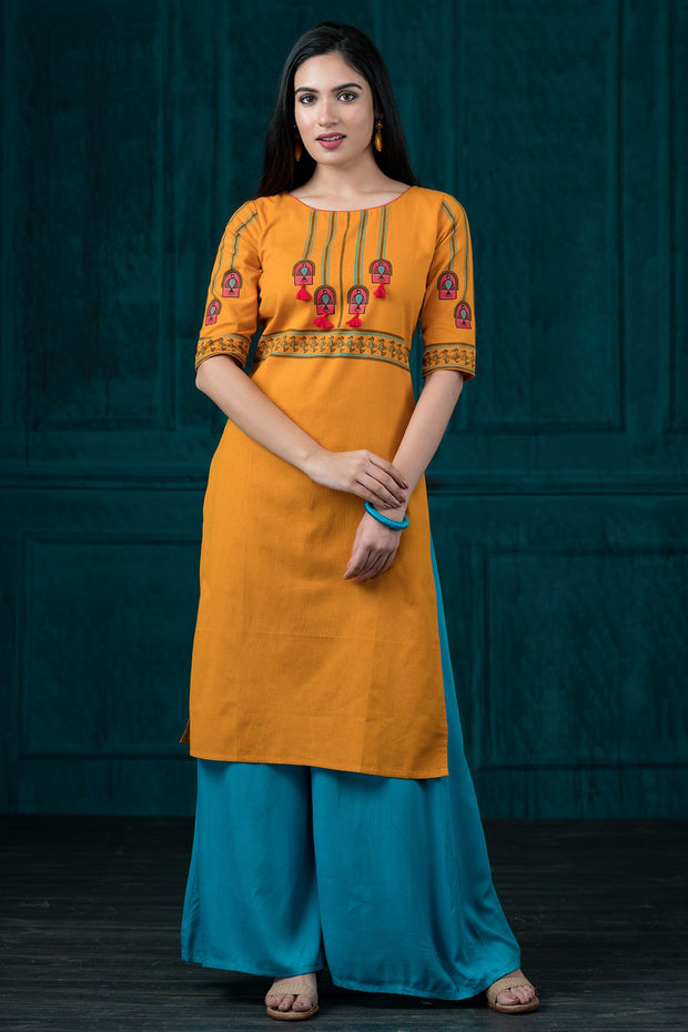 Placement tribal art kurta -Mustard