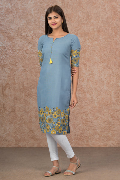 Geometric Floral Placement Printed Kurta - Blue