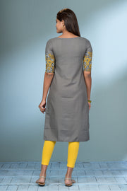 Geometric Floral Placement Printed Kurta - Grey