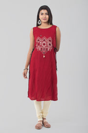 Red Boat Neck Rayon Kurta - Maroon - Maybell Womens Fashion