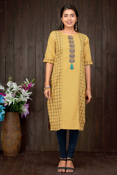 Embroidered & Checks Pattern Kurti - Mustard - Maybell Womens Fashion