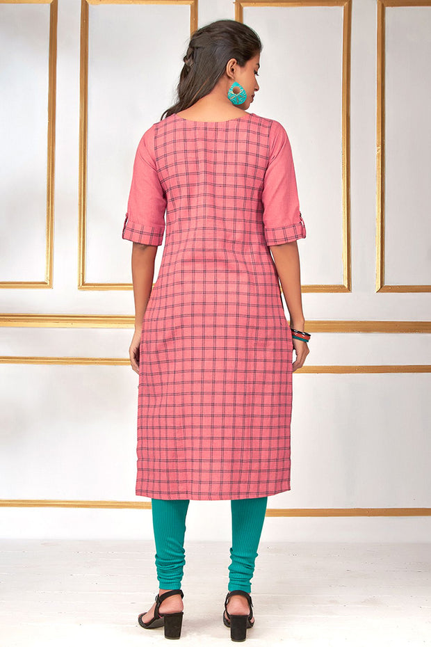 Embroidered & Checks Pattern Kurti - Pink - Maybell Womens Fashion