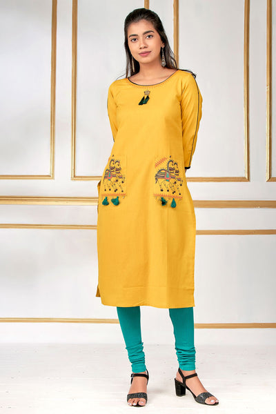 Elegant Horse Embroidery Kurti - Yellow - Maybell Womens Fashion