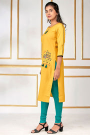 Elegant Horse Printed Kurti - Yellow - Maybell Womens Fashion