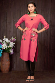 Elegant Horse Embroidery Kurti - Orange - Maybell Womens Fashion