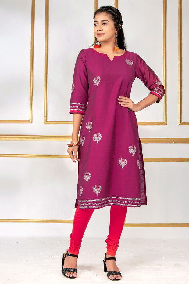 Contemporary Metallic Bird Printed Kurti – Maroon - Maybell Womens Fashion