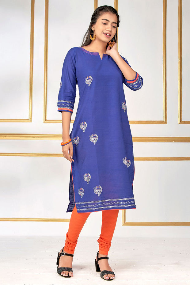 Contemporary Metallic Bird Printed Kurti – Navy Blue - Maybell Womens Fashion