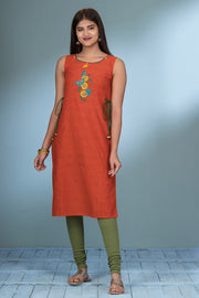 Butterfly & Floral Embroidered Kurta - Rust