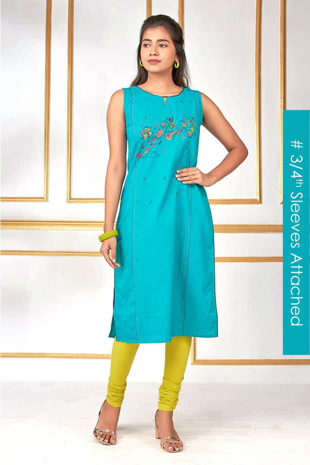 Abstract Musical Note Printed Kurti - Blue - Maybell Womens Fashion