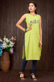 Abstract Musical Note Printed Kurti - Lime Green - Maybell Womens Fashion