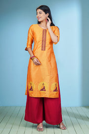 Contemporary Buddha Printed Kurta - Sunset Orange