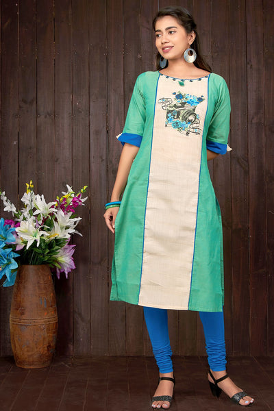 Floral & Camera Fusion Printed Kurta- Green - Maybell Womens Fashion