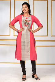 Floral & Camera Fusion Printed Kurta - Pink - Maybell Womens Fashion