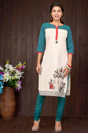 Temple Inspired Printed & Colour Blocked Kurta - Off-White - Maybell Womens Fashion