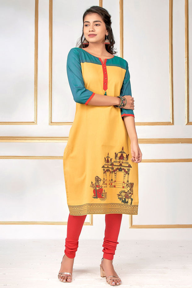 Temple Inspired Printed & Colour Blocked Kurta - Mustard - Maybell Womens Fashion
