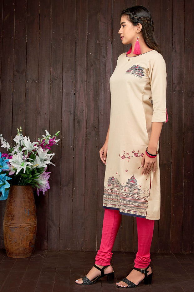 Abstract printed kurti - Beige - Maybell Womens Fashion
