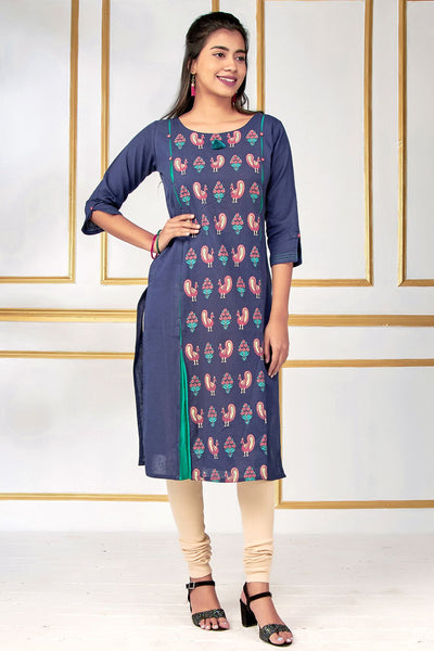 Contemporary Peacock Bird Printed Kurti – Navy Blue - Maybell Womens Fashion
