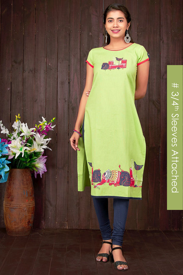 Quirky Mixed Motif Placement Printed Kurti - Green - Maybell Womens Fashion