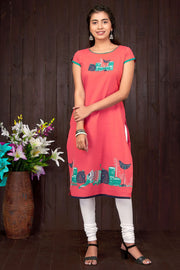 Quirky Mixed Motif Placement Printed Kurti - Orange - Maybell Womens Fashion