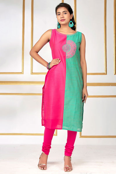 Abstract Kolam Embroidered Half & Half Kurti – pink - Maybell Womens Fashion