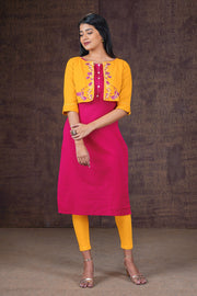 Minimal Kurta & Floral Embroidered Jacket Set - Pink & Yellow