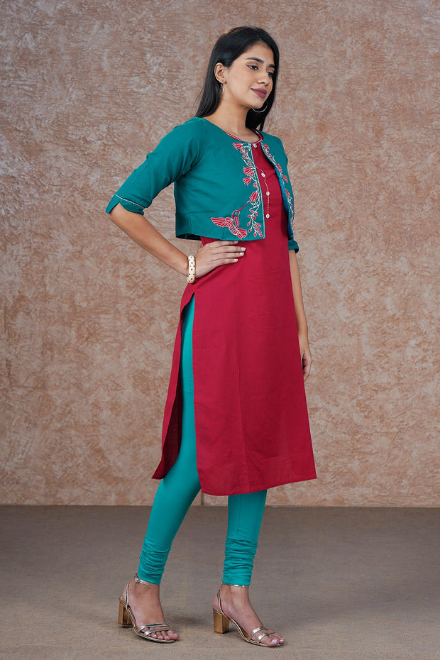 Minimal Kurta & Floral Embroidered Jacket Set - Red & Turquoise