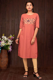 Abstract Deer And Leaf Print Kurta - Orange - Maybell Womens Fashion