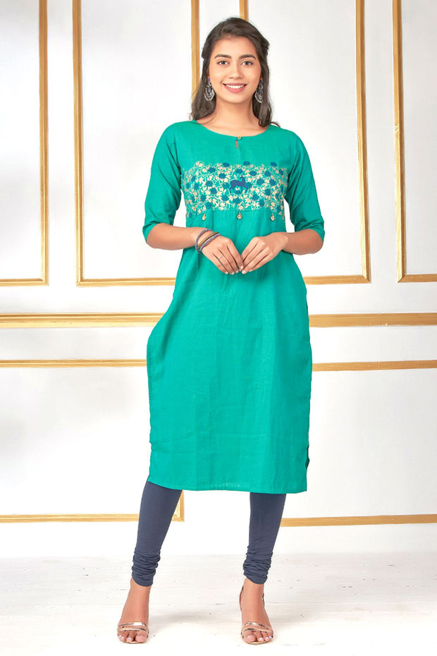 Abstract Deer And Leaf Print Kurta - Green - Maybell Womens Fashion