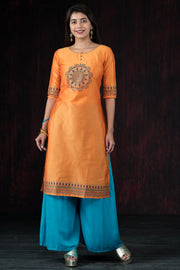 Placement Mandala Printed Kurta - Mustard