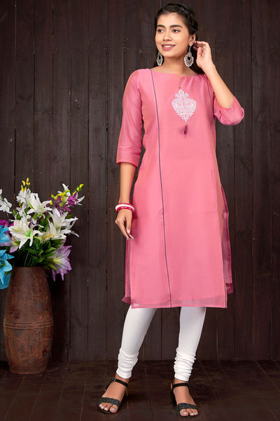 Chanderi Embroidered Kurta - Peach - Maybell Womens Fashion