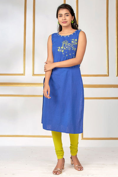 Abstract Floral Placement Printed Kurta - Royal Blue - Maybell Womens Fashion