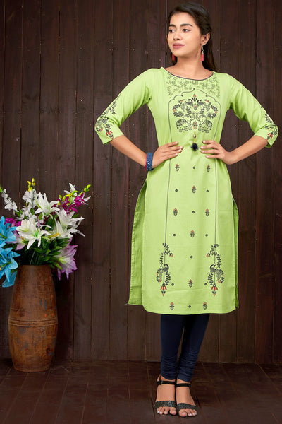 Elephant And Peacock Print Kurta - Green - Maybell Womens Fashion