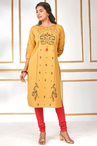 Elephant And Peacock Print Kurta- Mustard - Maybell Womens Fashion