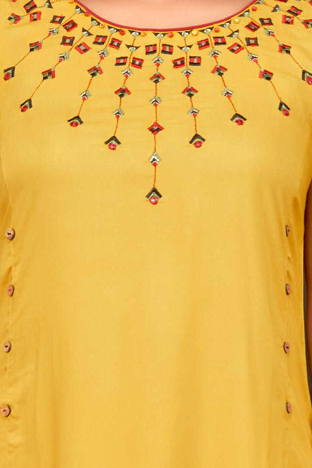 Metallic Embroidered Front With The Back Knot Kurta - Yellow - Maybell Womens Fashion